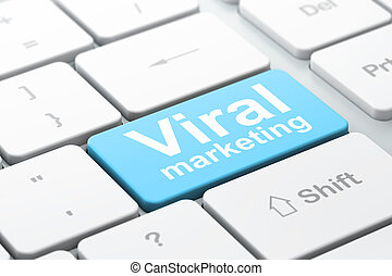 Advertising concept: Viral Marketing on computer keyboard background