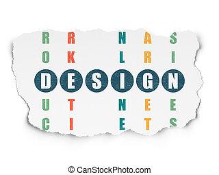 Advertising concept: word Design in solving Crossword Puzzle