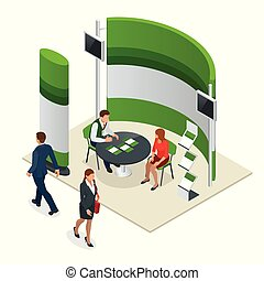 Advertising exhibition stands mockup 3D composition for a recruitment agency or tour agencies. Vector isometric illustration