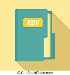 Advertising folder icon, flat style