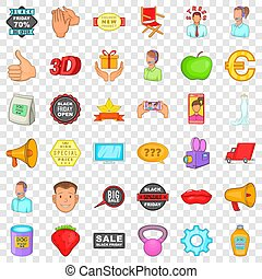 Advertising for sale icons set, cartoon style