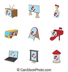 Advertising goods icons set, cartoon style