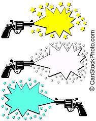 advertising guns - three guns with an advertising star, in...