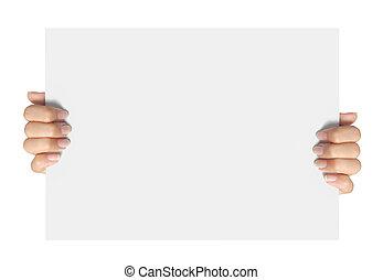 advertising., hand, greep, een papier