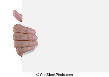 Hand holding white empty paper - Advertising: Hand holding...