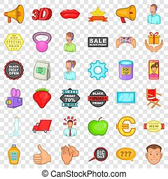 Advertising icons set, cartoon style