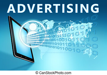 Advertising illustration with tablet computer on blue ...