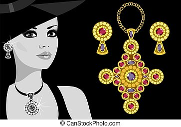 advertising jewelry - glamorous lady in the jewelry and a...