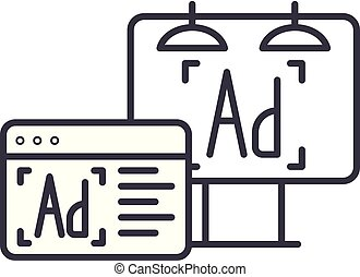 Advertising line icon concept. Advertising vector linear illustration, symbol, sign