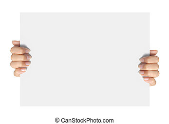 advertising., mano, tenere, carta