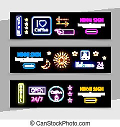 Advertising Neon Signs Horizontal Banners