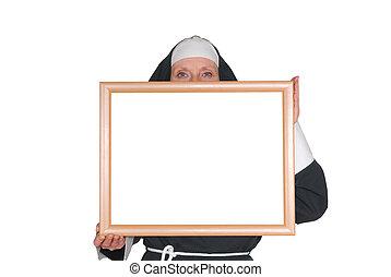Advertising nun, sister - Middle aged sister, nun....