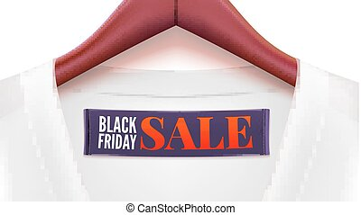 Advertising of Black friday sales. Clothing with tag hanging on hangers. Ad with black banner and white t-shirt for your design of posters, print design, creativity. Horizontal 3D illustration.