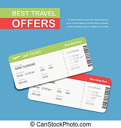 "Advertising of the travel agency. Simple text on the banner ""Best travel offers"". Airline boarding pass tickets isolated on blue background. Vector flat design."