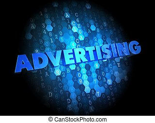 Advertising on Dark Digital Background.