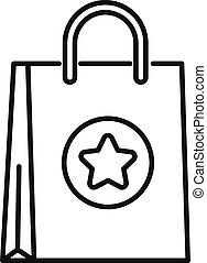 Advertising paper bag icon, outline style