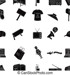 Advertising pattern icons in black style. Big collection of advertising vector symbol stock illustration