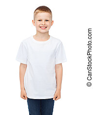 advertising, people, childhood and t-shirt design concept - smiling little boy in white blank t-shirt over white background