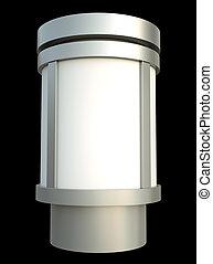 Advertising pillar isolated on black. 3D render.