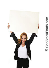 advertising portrait attractive businesswoman holding blank billboard with copy space smiling happy