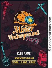 poster design with illustration of miner's helmet