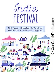 Advertising poster for indie music festival with place for text. Promotional placard for open air event with markets and disco summer party. Vertical flat vector illustration with chilling people