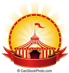 Advertising poster with banner and Big Top Circus