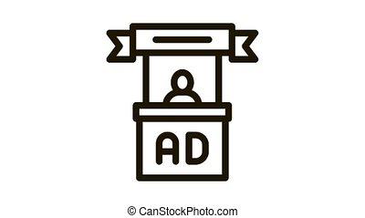 advertising reception center Icon Animation. black advertising reception center animated icon on white background