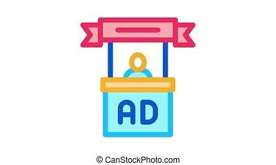 advertising reception center Icon Animation. color advertising reception center animated icon on white background