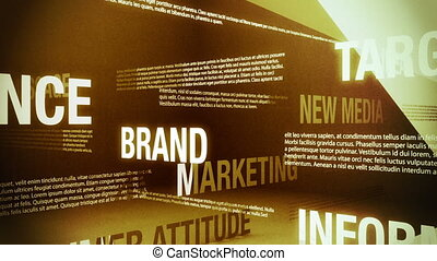 Looping animation of several words and concepts related to the advertising business sliding and crossing one another in an abstract but formal looking environment.