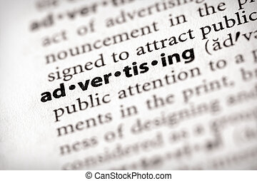 """Advertising - Selective focus on the word """"advertising"""". ..."""