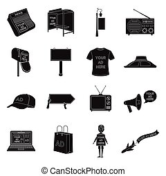 Advertising set icons in black style. Big collection of advertising vector symbol stock illustration