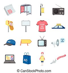 Advertising set icons in cartoon style. Big collection of advertising vector symbol stock illustration