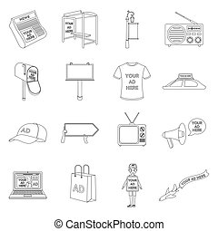 Advertising set icons in outline style. Big collection of advertising vector symbol stock illustration
