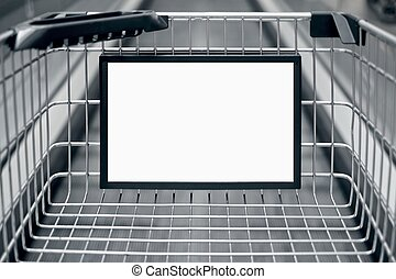 Advertising sign in a Shopping cart. Horizontal image with copy space.
