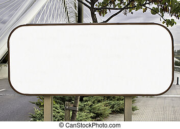 Blank road sign for advertising space, road