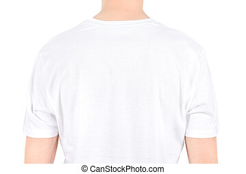 Advertising space on a white t-shirt. Isolated on white.