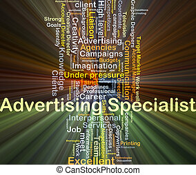 Advertising specialist background concept glowing -...