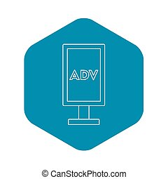 Advertising stand icon, outline style