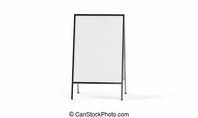 Advertising stand with silver frame, spin and zoom to the...