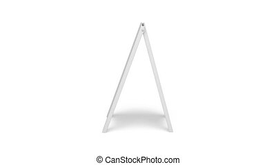 Advertising stand rotates on white background