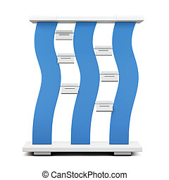 Advertising stand with blue accents. 3d.