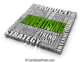 Advertising - Group of advertising related words. Part of a...