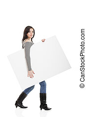 Advertising - Beautiful young women holding a blank...