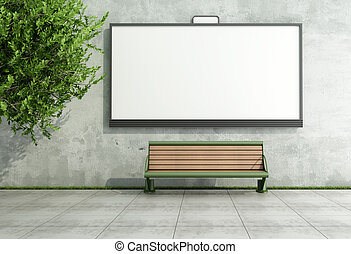 Advertising street bilboard on grunge wall with bench -...