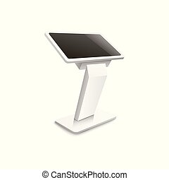 Advertising terminal stand 3d realistic vector mockup illustration isolated.