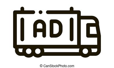 advertising truck Icon Animation. black advertising truck animated icon on white background