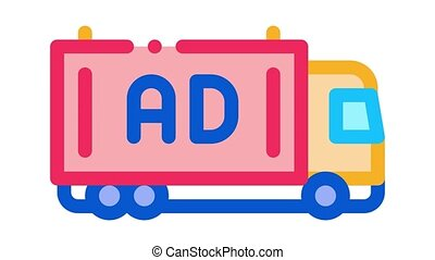 advertising truck Icon Animation. color advertising truck animated icon on white background