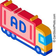 advertising truck isometric icon vector illustration