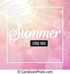 865ceb740232 Advertising web banner for summer sale. Text in white frame. Glares bokeh.  Silhouette
